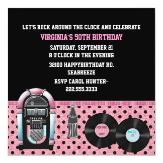 Whimsical 50's Birthday Party Invitation