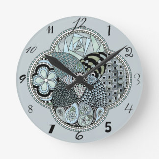 Whimsical Abstract Doodle Pattern Blue and Green Wallclock