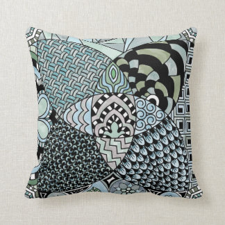 Whimsical Abstract Doodle Pattern Blue and Green Throw Pillows