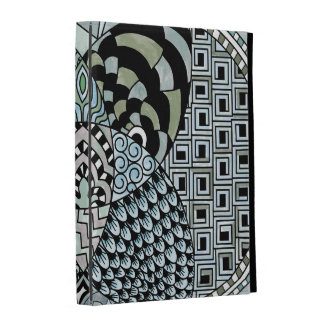 Whimsical Abstract Doodle Pattern Blue and Green iPad Case