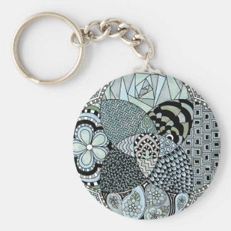 Whimsical Abstract Doodle Pattern Blue and Green Key Chain