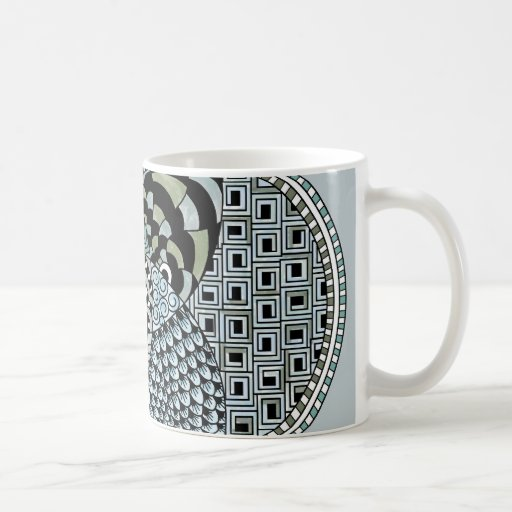 Whimsical Abstract Doodle Pattern Blue and Green Mugs
