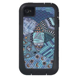 Whimsical Abstract Doodle Pattern Blue and  Purple iPhone4 Case