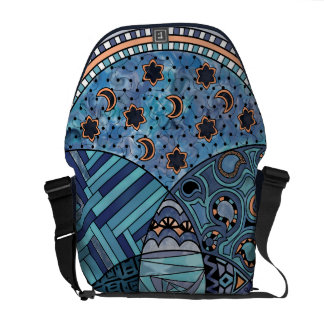 Whimsical Abstract Doodle Pattern Blue and  Purple Courier Bags