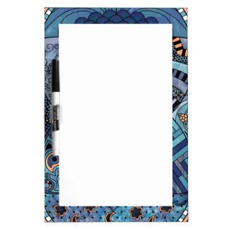 Whimsical Abstract Doodle Pattern Blue and Purple Dry-Erase Board