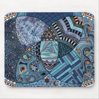 Whimsical Abstract Doodle Pattern Blue and  Purple Mouse Pad