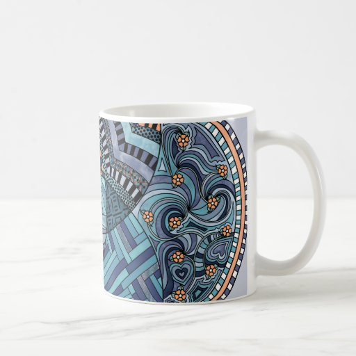 Whimsical Abstract Doodle Pattern Blue and  Purple Coffee Mugs