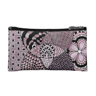 Whimsical Abstract Doodle Pattern Pink and  Purple Makeup Bags