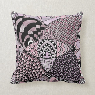 Whimsical Abstract Doodle Pattern Pink and Purple Throw Pillow