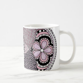 Whimsical Abstract Doodle Pattern Pink and  Purple Coffee Mug