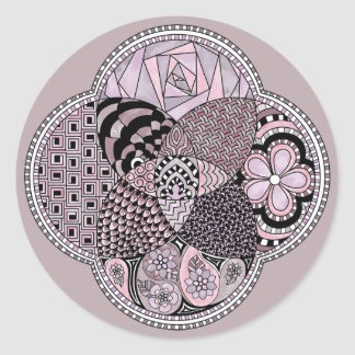 Whimsical Abstract Doodle Pattern Pink and  Purple Stickers