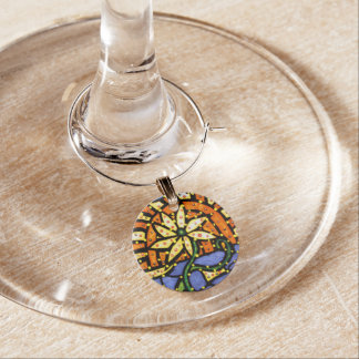 Whimsical Abstract Flower Bright Colors Wine Charm