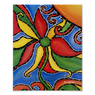 Whimsical Abstract Flower Poster