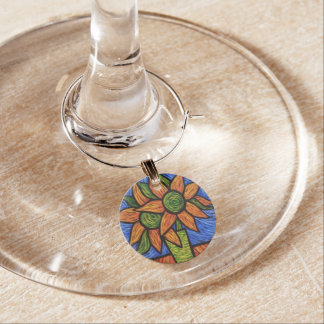 Whimsical Abstract Flowers Bright Colors Wine Charm
