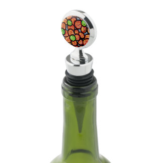 Whimsical Abstract Red  Flowers Wine Stopper