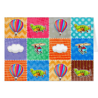 Whimsical Airplane, Helicopter, & Hot Air Balloon Card