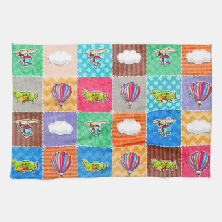 Whimsical Airplane, Helicopter, & Hot Air Balloon Tea Towels