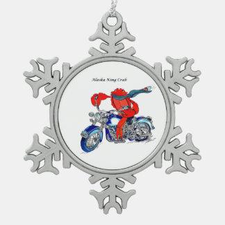 Whimsical Alaska King Crab Motorcycle Designed Snowflake Pewter Christmas Ornament