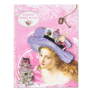 Whimsical Alice in Wonderland Birthday Tea Party Card