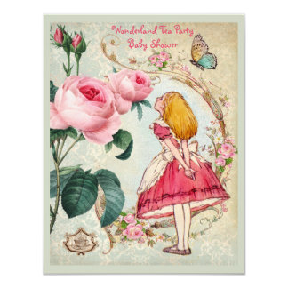 Whimsical Alice in Wonderland Collage Baby Shower 11 Cm X 14 Cm Invitation Card