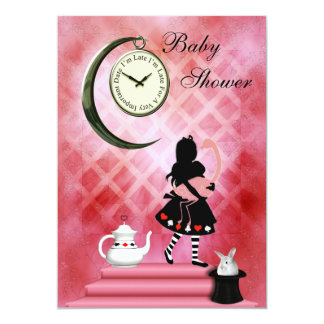 Whimsical Alice & Pink Flamingo Baby Girl Shower Card