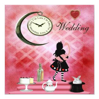 Whimsical Alice & Pink Flamingo Wedding Card