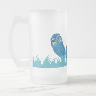 Whimsical and Adorable Blue Burrowing Owl Art Frosted Glass Beer Mug