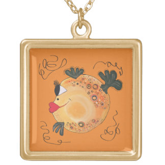Whimsical and Adorable Fish Art Gold Plated Necklace