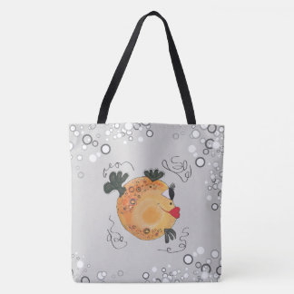 Whimsical and Adorable Fish Art in Teal Tote Bag