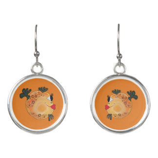 Whimsical and Adorable Fish Art Orange and Yellow Earrings