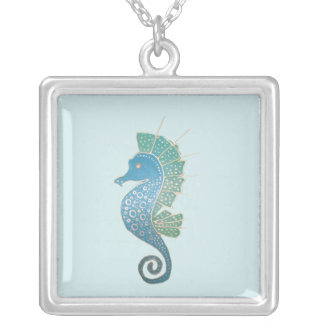 Whimsical and Adorable Seahorse Artwork Silver Plated Necklace