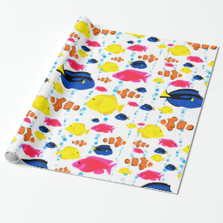 Whimsical and Colorful Tropical Fish and Bubbles Wrapping Paper