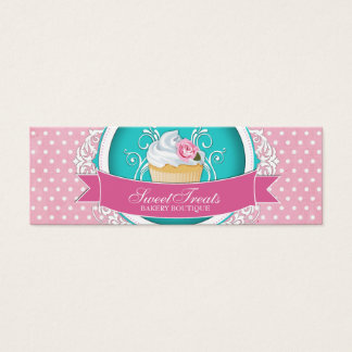 Whimsical and Elegant Cupcake Bakery Tags Mini Business Card