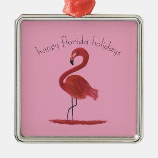 Whimsical and Flirty Pink Florida Flamingo Metal Ornament