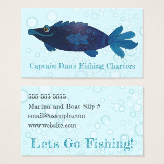 Whimsical and Funky Fish Blue, Purple Business Card