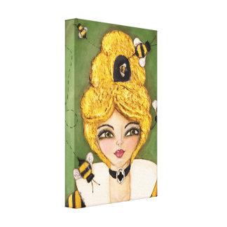 Whimsical Art Bee Hive Hair Girl Green Yellow Cute Canvas Print