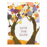 Whimsical Autumn Tree Theme Save the Date Postcard
