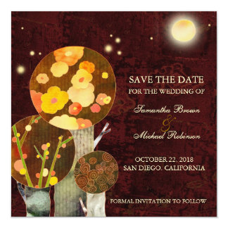 Whimsical Autumn Trees Wedding Save the Date Card