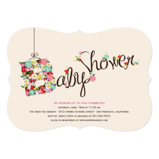 "Whimsical B Spring Flowers Baby Shower Invite 5"" X 7"" Invitation Card"