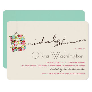 Whimsical B Spring Flowers Bridal Shower Invite
