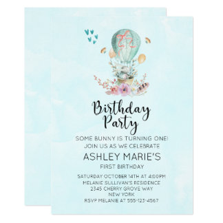 Whimsical Baby Bunny in a Balloon Birthday Party Card