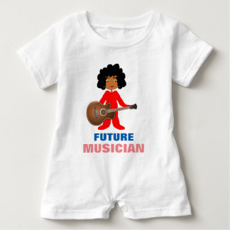 Whimsical Baby Holding Guitar on Baby Romper Baby Bodysuit