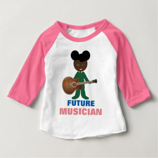 Whimsical Baby Holding Guitar on Raglan T-Shirt