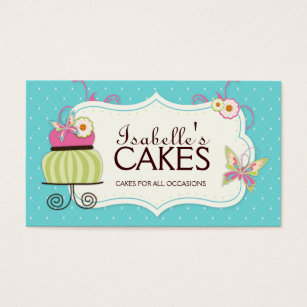 Cake business cards business card printing zazzle whimsical bakery business card reheart Images