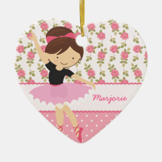 Whimsical Ballerina Floral Pink Girly Personalized Ceramic Heart Decoration
