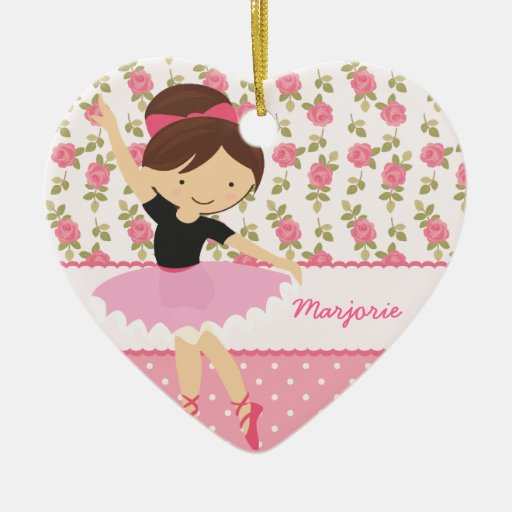 Whimsical Ballerina Floral Pink Girly Personalized Ornament