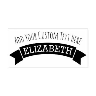 Whimsical Banner with Custom Text and Name Self-inking Stamp