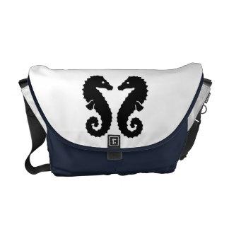 Whimsical Beach Seahorse Silhouettes Blue Custom Courier Bags