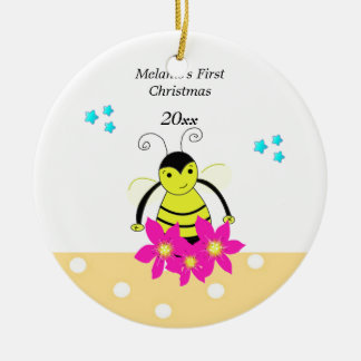 Whimsical Bee Baby's First Christmas Ceramic Ornament