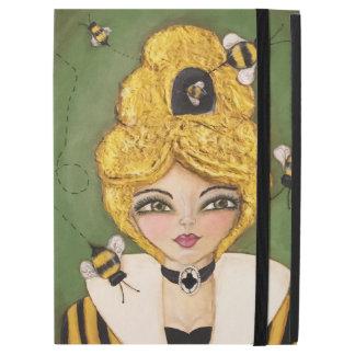 "Whimsical Bee Hive Hair Girl Art Green Yellow iPad Pro 12.9"" Case"